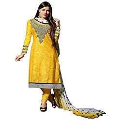 Fabtantra Womens Cotton Straight Dress Material (10080 -Yellow -Free Size)
