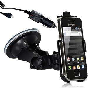 Wicked Hold - für Samsung Galaxy ACE S5830 / GT-S5830 KFZ Halterung Autohalterung (drehbar, vibrationsfrei) mit KFZ Ladekabel (1000mA, 12V, 24V, schwarz)