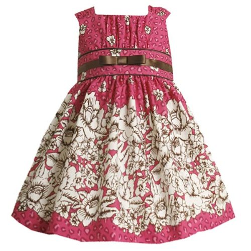 Size-4T BNJ-3257-B FUCHSIA-PINK IVORY BROWN FLORAL TOILE LEOPARD PRINT Special Occasion Wedding Flower Girl Party Dress,B23257 Bonnie Jean TODDLERS
