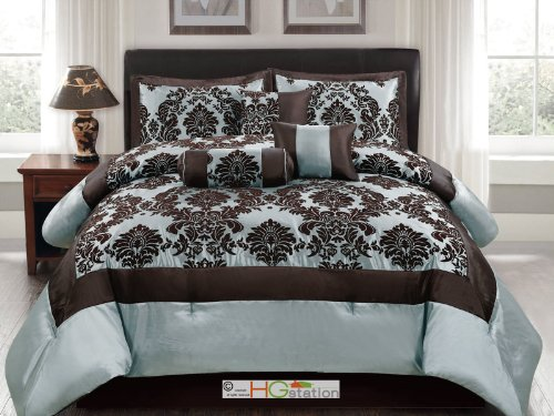 7-Pc Silky Poly-Satin Flocking Damask Floral Square Comforter Set Blue Brown Queen front-30826