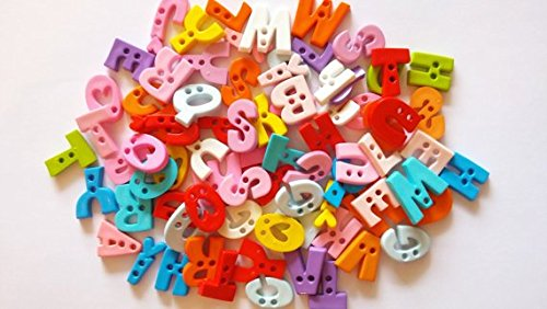50 pcs Assorted A B C Letter buttons 2 holes for sewing crafts assorted colors (Alphabet Sewing Buttons compare prices)