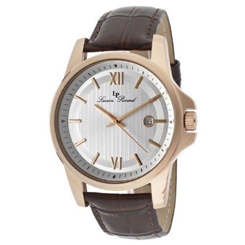 Lucien Piccard Men's 10048-RG-02S-BRW Breithorn Silver Textured Dial Brown Leather Watch