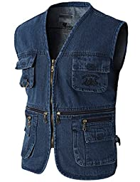 H2H Mens Casual Work Utility Travels Sports Denim Vest With Multiple Pockets BLUE US L/Asia XL (KMOV088)