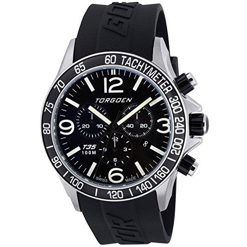 TORGOEN Swiss  T35301 - Reloj de cuarzo para hombre, con correa de plástico, color negro