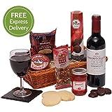 The Gentleman's Food & Wine Basket - Men's Hampers & Gift Baskets For Him - Wine, Pate, Sweet & Savoury Hamper - Free UK Express Delivery