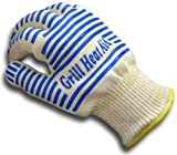 #1 Oven Gloves - 932°F Extreme Heat Resistant EN407 Certified - Set of 2 Premium 5★ Thick but Light-Weight, Flexible BBQ Gloves - 100% Cotton Lining For Super Comfort - Blue Stripes for Ultimate Grip - Versatile than Mitts & Potholders - Lifetime Warranty!
