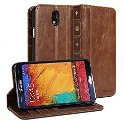 Galaxy Note 3 Case, GMYLE Book Case Vintage for Samsung Galaxy Note 3 - Brown Classic Crazy Horse Pattern PU Leather Protective Book style Flip Folio Stand Case Cover
