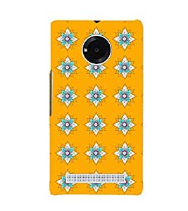 Printvisa Premium Back Cover Yellow And Flue Floral Pattern Design For Yu Yunique