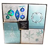 Christmas Card Collection - 24 Handmade Christmas Cards With Self-Sealing Envelopes, 4 Different Designs, Icy Snowflake Collection