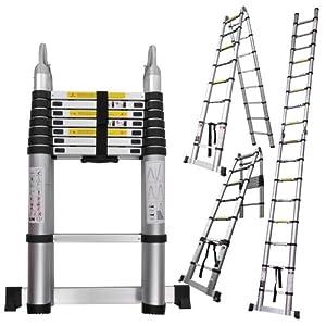 16.5 Ft Portable Aluminum Telescopic Ladder Telescoping A-type Extension Multi Purpose Lightweight