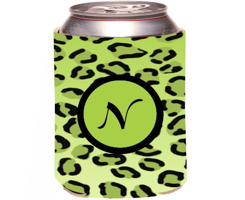 "Rikki Knight Beer Can Soda Drinks Cooler Koozie, Letter ""N"" Initial Monogrammed Design, Leopard Print, Lime Green front-1073123"