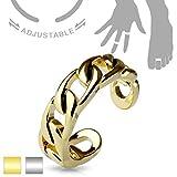 Coolbodyart Damen Kinder Mädchen Fingerring Zehenring verstellbar aus Messing in Silber,gold als Glieder-Kette