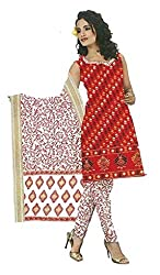 DARPAN TEXTILES Ethnicwear Women's Dress Material Red_Free Size
