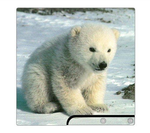 Baby Polar Bear Cub Decorative Protector Skin Decal Sticker for PlayStation 3 PS3 SLIM Console