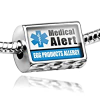 "Neonblond Beads Medical Alert Blue ""Egg Products Allergy"" - Fits Pandora Charm Bracelet by NEONBLOND Jewelry & Accessories"