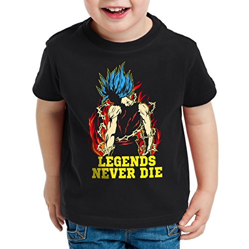 Legends-Never-Die-Goku-Blue-God-Modo-Camiseta-para-Nios-T-Shirt-Talla128