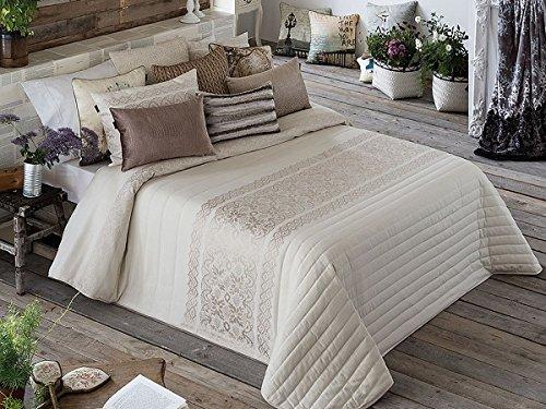 Textilhome - Colcha Bouti Jacquard LANCEL - Cama 135cm - Color Beig