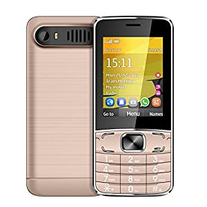 PADGENE 2G Portable Basic Simple Senior T3 Mobile Phone with 2.8inch Large Display, Dual SIM Dual Standby, Sim-Free, with FM Radio and Torch Function - SOS button for the Elderly (Rose Gold)