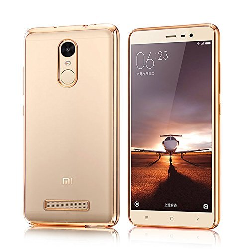Chevron-RDMINOTE3GRNDGOLD-Transparent-Silicon-Electroplated-Edges-TPU-Back-Case-Cover-for-Xiaomi-Redmi-Note-3-TransparentGold-Border