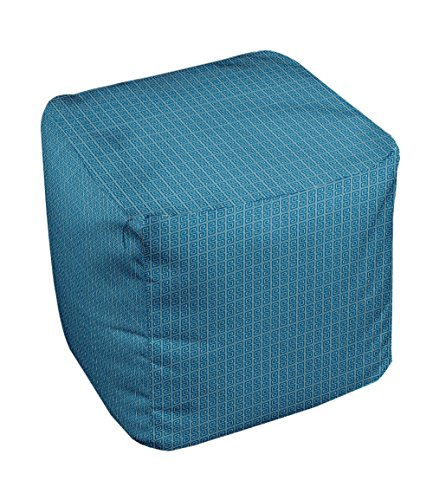 E by design Geometric Pouf, 13-Inch, Peacock Oatmeal