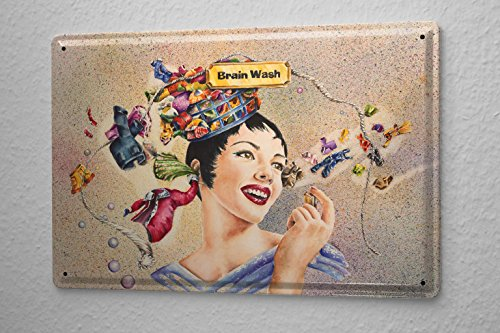 tin-sign-fantasy-motif-brainwashing-woman-head-thoughts-clothesline-decorative-metal-plate-8x12