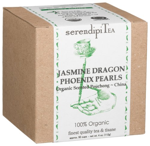 SerendipiTea Jasmine Dragon Phoenix Pearls, Organic Scented Pouchong Tea & Tisane, China, 4-Ounce Boxes (Pack of 2)