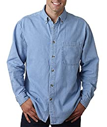 8960 UltraClub Men\'s Cypress Denim with Pocket (Light Blue) (XL)