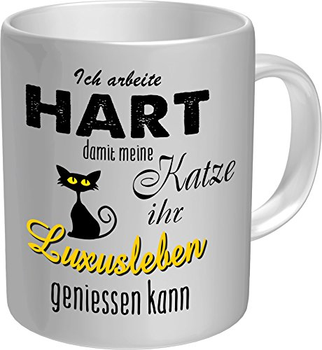 original rahmenlos kaffeebecher f r den katzenliebhaber ich arbeite hart f r das luxusleben. Black Bedroom Furniture Sets. Home Design Ideas