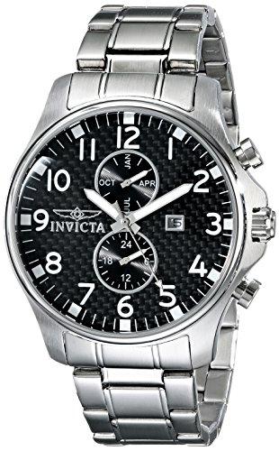 Invicta - 0379 - Speciality - Montre Homme - Quartz Analogique - Cadran Noir - Bracelet Acier Argent