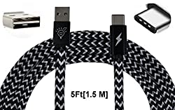Parallel Universe(TM) USB type-C to USB type-A Nylon Braided Data Transfer and Charging Cable [1.5 meter/5 feet] for HTC 10, Oneplus 3, Lenovo Zuk Z1, Le 2, Le Max 2, Xiaomi Mi 5, OnePlus Two, Letv Le 1s, Nexus 5x, Nexus 6P, Macbook Air, etc