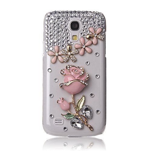 Galaxy S4 Mini Case, Mini-Factory Pink Samsung Galaxy S4 Mini I9190 Bling Crystal Pearl Diamante Love Diamond Rose Diamond Case Cover Design for Girls (Fits: Samsung Galaxy S4 Mini / i9190) (Samsung Galaxy Mini Girl Cases compare prices)