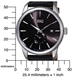 ESQ by Movado Men's 07301371 Chronicle Black Leather Strap Black Round Dial Watch