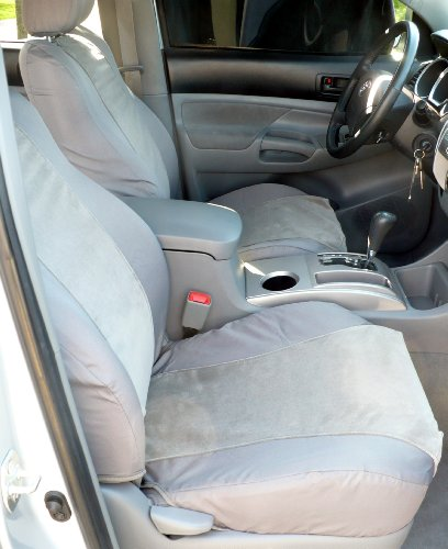 Exact Seat Covers, T915 C8/V7, Custom Exact Seat Covers Designed For 2005-2008 Toyota Tacoma TRD Front Sport Bucket Seats, Gray Waterproof Endura with Gray Foam Backed Velour Inserts (Tacoma Seat Covers Trd compare prices)
