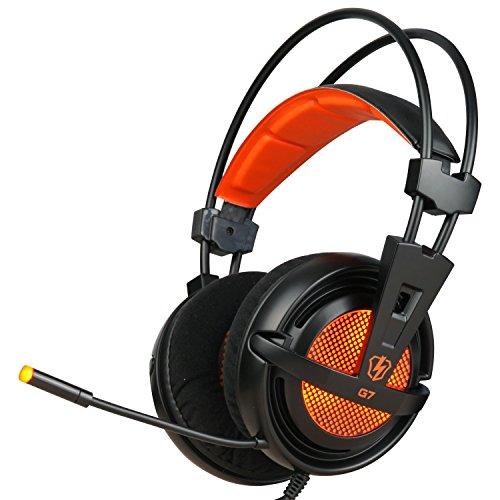 LETTON G7 ステレオヘッドホン ゲーム用ヘッドセットDeep Bass パソコンやゲーム機などに対応 (ブラック/オレンジ)