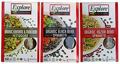 Explore Cuisine Organic Gluten Free Pasta 3 Flavor Variety Bundle: (1) Organic Black Bean Spaghetti, (1) Organic Edamame & Mung Bean Fettucine, and (1) Organic Adzuki Bean Spaghetti, 7.05 Oz. Ea. from Explore Asian