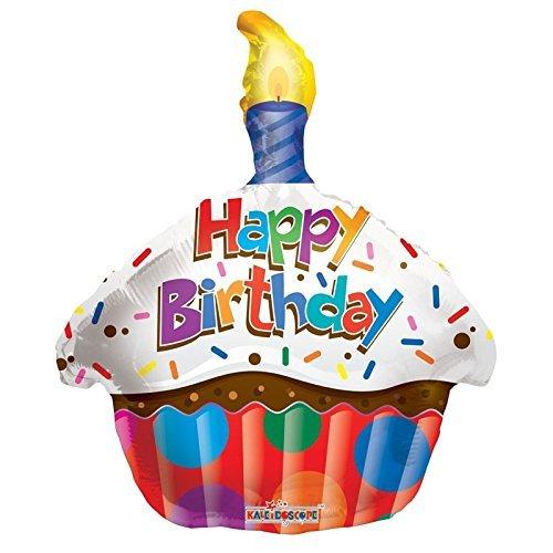 "Kaleidoscope Happy Birthday Cupcake Foil Mylar Balloon , 18"", Pack of 5"