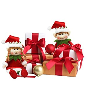 "Elf Plush Boy and Girl - Pair of 11"" Boy and Girl Christmas Holiday Elves - Straight From Santa's Workshop"