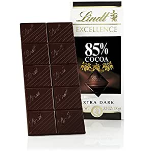 Lindt Excellence Extra Dark Chocolate 85% Cocoa, 3.5-Ounce Packages (Pack of 12)