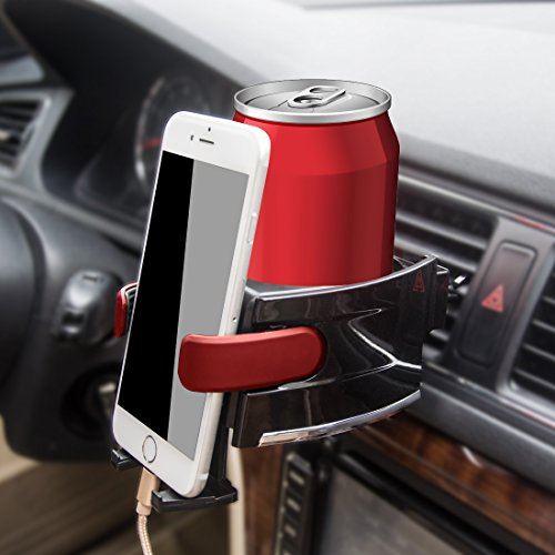 Car Cup Holder and Car Phone Holder Air Conditioner Vent Mount Insert with Adjust for Vehicle Automobile Charging Dock for Smartphone and Tablets by Heiyo--Red (Air Conditioner Phone Holder compare prices)