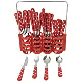 Avenue Stainless Steel Polka Dots Design Cutlery Set Red