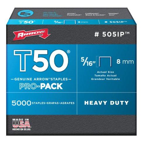 Arrow 505IP Genuine T50 5/16-Inch Staples, 5,000-Pack