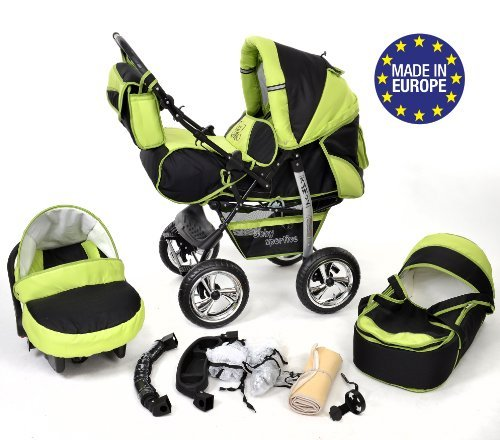 3-in-1 Travel System with Baby Pram, Car Seat, Pushchair & Accessories, Black & Green
