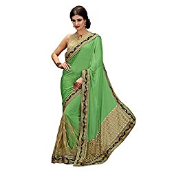 Resham Fabrics Green Georgette Saree