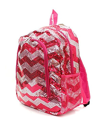 Children's Chevron Sequin Bling School Backpack (Hot Pink)