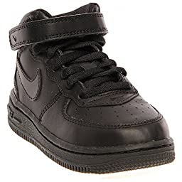 Nike Toddlers Force 1 Mid (TD) Black/Black Basketball Shoe 7 Infants US