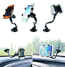 Amaz247 Windshield Universal Smartphone Car Mount Holder Cradle for iPhone 6, 6 Plus, 6S, Edge 5S SE Samsung Galaxy S5, 4, 3, S7, 6 Edge Plus, Note 5, 4, 3 & other Smartphones