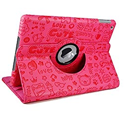 KolorFish iFun Cartoon Designer 360 Degree Rotating Leather Flip Stand Case Cover for iPad Air 2 - Hot Pink