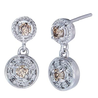 1/2 CT Champagne Diamond Earrings in Sterling Silver