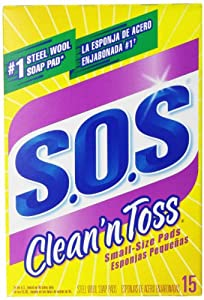S.O.S. Clean 'n Toss Steel Wool Soap Pads, 15-Count Boxes (Pack of 6)