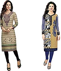 SDM Women's Kurti Printed Cotton Dress Material Unstitched Combo of 2 (126-124 ,Unstitched)